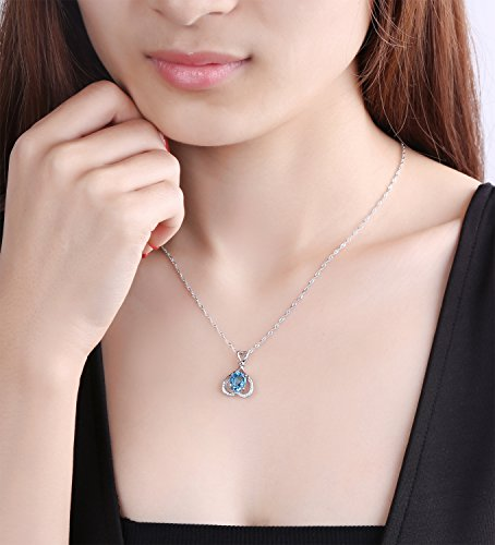 """Ideal Gifts Natural Swiss-blue Topaz Gemstone Heart by Heart Style with 925 Sterling Silver Necklace Pendant,18"""""""