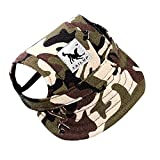 Dog Hat-Pet Baseball Cap/Dogs Sport Hat/Visor Cap with Ear Holes and Chin Strap for Small Dogs (Size S, Camouflage) by Happy Hours