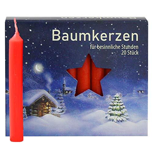 Ebersbacher Kerzenfabrik Baumkerzen rot , 20 Stück, Größe 13x105mm , BK20/250