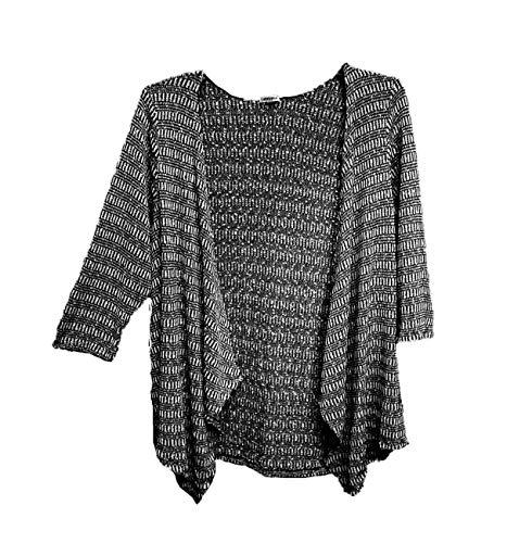 Bongo Black White Nubby Open Front Cardigan Jacket Sweater TOP (Juniors Plus 1X) (Misses XL, XXL) (Womens Plus 0X