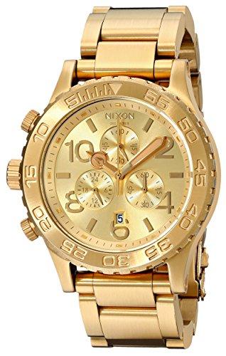 Nixon 42-20 Chrono A037502-00 - Reloj cronógrafo de Cuarzo Unisex, Correa de Acero Inoxidable Chapado Color Dorado (cronómetro)