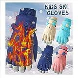 4-13 Jahren Kinder Handschuhe Winter Warme Winddichte wasserdichte Skihandschuhe Fahrradhandschuhe Skifahren Radfahren Reiten Wandern Gloves (Beige)