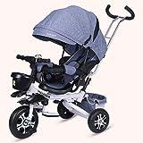 Trike Triciclo para bebé, cochecito de dirección plegable 4 en 1, bicicleta con barandilla desmontable, capota ajustable, pedal plegable, bolsa de almacenamiento, freno, diseño de absorción de impac