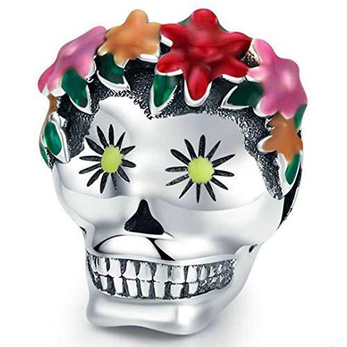 SODIAL Halloween Flor Calavera Cabeza Cuentas Sueltas DIY Pulsera Collar Accesorios