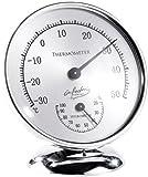 Infactory Termometro Ambiente analogo: Termometro analogico con igrometro, 10 Centimetri (Termometro da Esterno Finestra analogo)