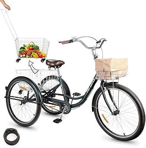 HIRAM Triciclo per Adulti con Cestino Posteriore Pieghevole Bicicletta a Tre Ruote con Cestino Anteriore Impermeabile Triciclo per Sport, PIC-nic, Acquisti (Verde-26)