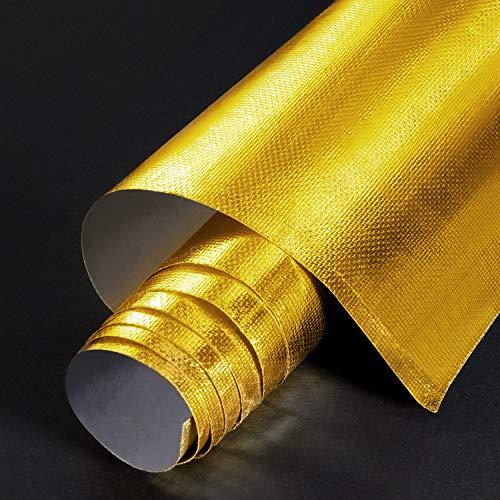 Kleberücken Aluminium Glasfaser Blatt Praktische Hitzeschild Schutz Barriere Abdeckung Aluminium Hitzeschutz Matte für Schlauch und Automatische Verwendung (Gold, 24 x 48 Zoll)