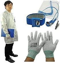 ESD Algodón Uniforme Color Blanco ESD Antiestático Lab Coat ESD Smock Work with ESD Wrist Strap and ESD Glove, Blanco
