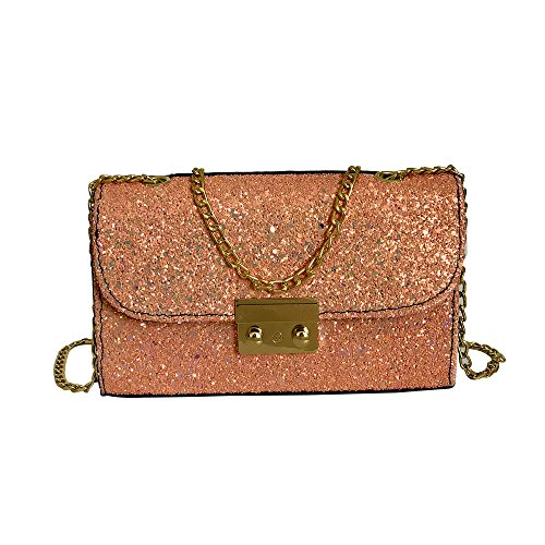 Umhängetasche Damen Sunday schultertasche leder handtasche klein henkeltasche Metallgriff Abendhandtasche aus Leder mit Kette Bling Pailletten (20cm, Rosa)