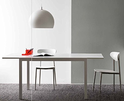 Calligaris Connubia by Table Aladino V 120 - Plan/rallonge : GEW Verre trempé sérigraphié extra clair All Nob Blanc Ott Op - Finition : P94 m Blanc optique mat.