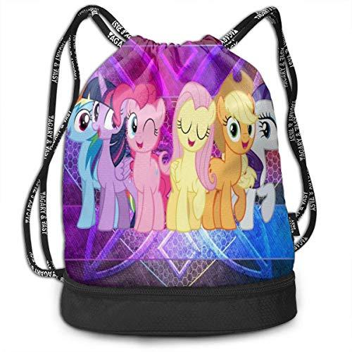 Anime My Little Rainbow Pony Bundle Mochila con cordón para gimnasio, deportes de cuerda, escuela, yoga, niños y mujeres mochilas de viaje