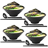 Tazones de sopa 4 juegos (12 piezas) Juego grande de tazón de ramen japonés, viene con cuchara y palillos, melamina de calidad de restaurante, para fideos, Pho, fideos, Udon, tailandés, vajilla china