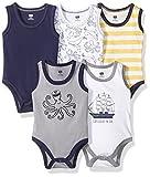 Hudson Baby Unisex Baby Cotton Sleeveless Bodysuits, Sea Captain, 0-3 Months