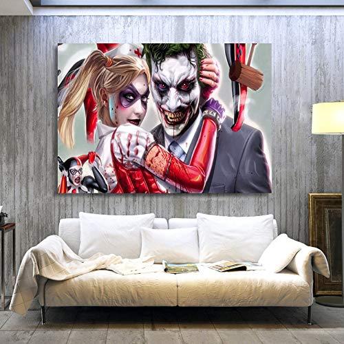zhuziji DIY Malen nach Zahlen Joker Harry Quinn Comics Mit Pinsel und Acrylfarbe nach Zahlen malen für Erwachsene Gemälde für Wohnzimmer Geeignet für Wohnzimmerdekoration40x60cm(Kein Rahmen)