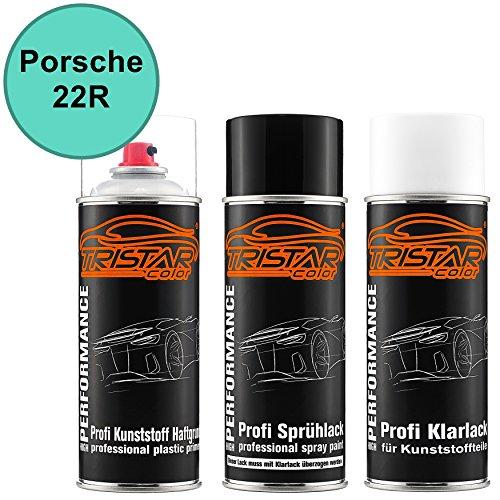 TRISTARcolor Autolack Spraydosen Set für Kunststoff Stoßstange für Porsche 22R Mintgrün Haftgrund Basislack Klarlack mit Weichmacher Sprühdose