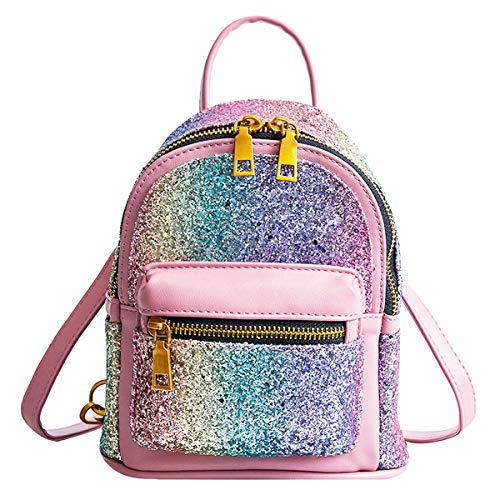 Mini Sequin Backpack Rucksack Convertible Leather Shoulder Cross Bags Purse For Women Teenage Girls
