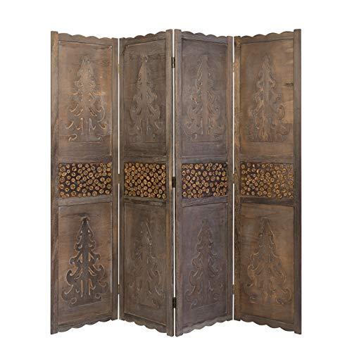 Homestyle4u 1361, Paravent Raumteiler 4 teilig, Holz Schnitzerei, Braun