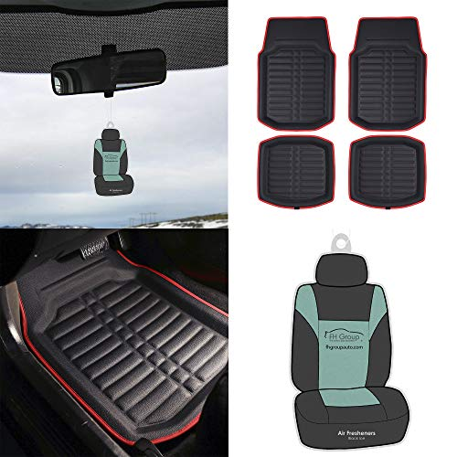 FH Group F14409 PU Leather Liners Deep Tray Car Floor Mats (Black with Red Trim) Full Set with Gift - Universal Fit for Cars Trucks & SUVs