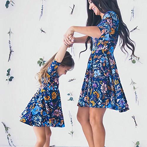 YUANYIRAN Madre Hija Vestidos,Azul Floral Estampado Media Manga A Juego Mini Vestido Mamá E Hija Vestido para Madre E Hija Mamá Y Yo Ropa Familia Look,Madre XXL