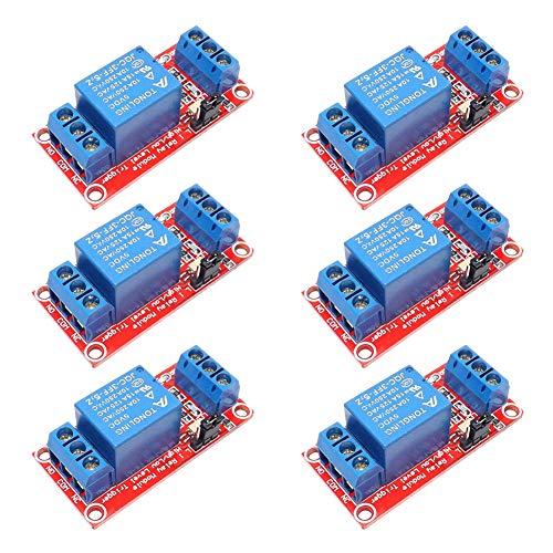Electrely 6 Stücke 1-Kanal-Relais-Modul, 5V, mit Optokoppler, Unterstützt High und Low Level Trigger, für Arduino