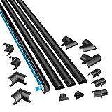 D-Line Mini 3015KIT002 | Canaletas adhesivas de PVC para cables | Multipack de 4 piezas (30x15mm) de 1 metro de longitud en color Negro | Solución para organizar, proteger y cubrir cables