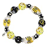 Kate & Macy Clementine Design Queen Bee Bracelet Painted Glass Beads Rhinestones