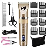 Aliopis Dog Clippers, Professional Waterproof Dog Grooming Kit Low Noise 3-Speed Rechargeable Cordless Electric Pet Hair Trimmer Shaver Clipper for Large Small Dog Cat