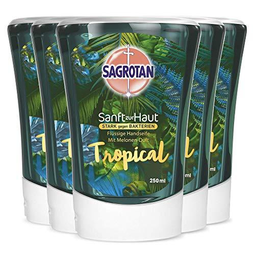 Sagrotan No-Touch Nachfüller Tropical Edition – Für den automatischen Seifenspender – 5 x 250 ml Handseife im praktischen Vorteilspack