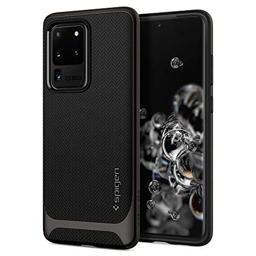 Spigen Neo Hybrid Kompatibel mit Samsung Galaxy S20 Ultra Hülle, Zweiteilige Handyhülle Modische Muster Silikon und PC Rahmen Case Gunmetal ACS00718