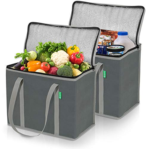 XL Insulated Grocery Bag Set (2-Pack, Gray). Premium Quality Cooler Bags with...