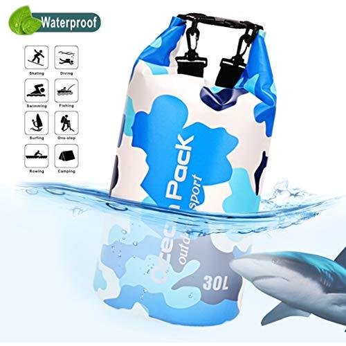 Idefair Wasserdichter Packsack, Schwimmender Trockenrucksack Strandtasche Leichter Trockensack für den Strand, Bootfahren, Angeln, Kajakfahren, Schwimmen, Rafting, Camping 10L 20L 43L