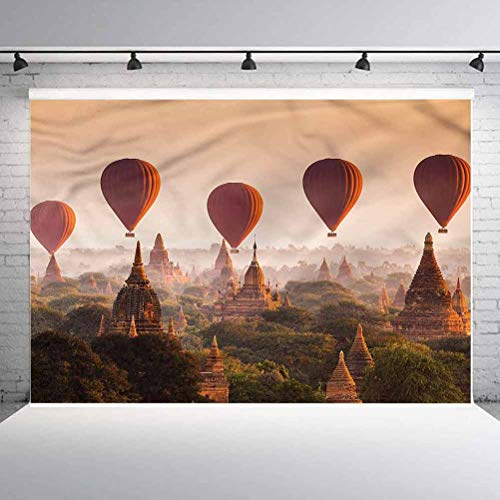 5x5FT Vinyl Photo Backdrops,Hot Air Balloon Myanmar Background for Selfie Birthday Party Pictures Photo Booth Shoot