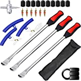 YINGJEE 14.5inch Tire Spoons Motorcycle, Dirt Bike Tire Spoon Set, Professional Tire Changing Spoons Lever Iron Tool Kit with Durable Bag & 3 Tire Irons & 2 Rim Protectors & 1 Valve Core and Caps Set