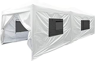 Quictent Privacy 10x20 EZ Pop Up Canopy Tent Party Tent Outdoor Event Gazebo Waterproof with 6 Sides & Roller Bag (White)