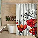 N\A Langer Duschvorhang Mohn Künstlerische Blümchen & Knospen mit lockigen Blättern & roten Blütenblättern im Vintage-Stil Rot Hellblau Beige