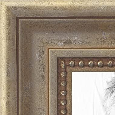 ArtToFrames 24x24 inch Aged White Gold with Beaded Detailing Wood Picture Frame, WOMD8808-24x24