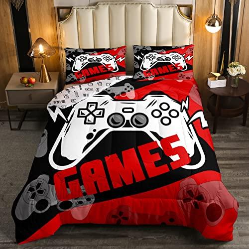 Juego de edredón para juegos de cama King para niños, diseño de jugador rojo y negro, juego de edredón reversible para videojuegos, con 2 fundas de almohada, poliéster suave moderno, regalo de Navidad