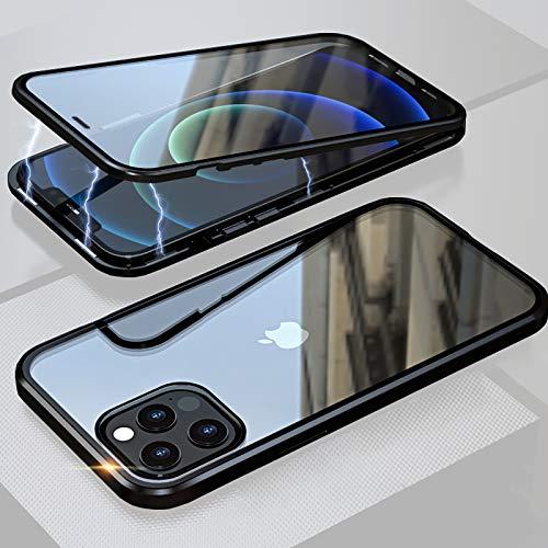 ANAcase Hülle iPhone 12 Pro Magnetische Adsorption Handyhülle 360 Grad Metall-Stoßschutz Transparentes Vorder- und Rückseite gehärtetes Glas Einteiliges Design Case+ Kamera Linse Schutz,Schwarz