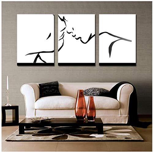 verliefde kunst wandfoto, abstract, zwart, schilderen, eenvoudige kussen, voor woonkamer, schilderen, huis, wanddecoratie, 50 cm x 70 cm x 3 cm (zonder lijst)