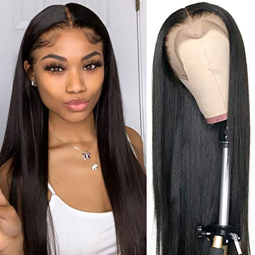 Brazilian Straight Human Hair Wigs 13×6×1 T Part Lace Front Wigs Lemoda Deep Middle Part Lace Wig Pre Plucked With Baby Hair Natural Color (16inch,150% Density)