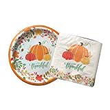 Fall Holiday Paper Plates and Napkins,'Thankful' with Pumpkins, Fall Leaves, 18 Plates + 18 Napkins, Use for Thanksgiving or All Year Long