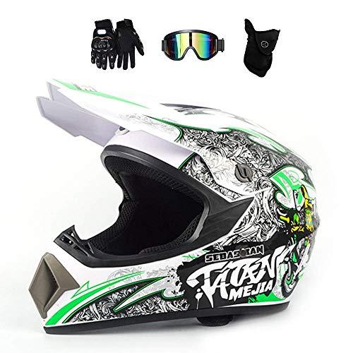 NNYY Motocross Helm Adult Weiß/Graffiti, Enduro MTB Helm Kinder mit Crossbrille Handschuhe Maske, Fullface Crosshelm Offroad Motorradhelm Kit für Damen Herren Sicherheit Schutz (4 Pcs),L