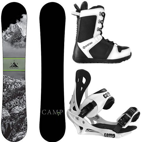 Camp Seven Package Valdez CRC Snowboard-163 cm Wide Summit Bindings-System APX Snowboard Boots 12