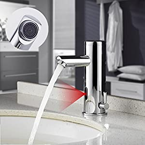 Auralum – Grifos con Sensor Automático Electrónico Mezclador Grifo de Lavabo con Sensor de Infrarrojos para Agua Caliente y Fría para Baño