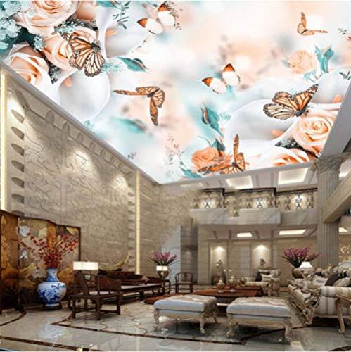 Mmneb Romantische 3D-Deckengemälde Rose Flower Butterfly Wallpapers Für Wohnzimmer Schlafzimmer Tapeten Wohnkultur Spanndecke-150X120Cm