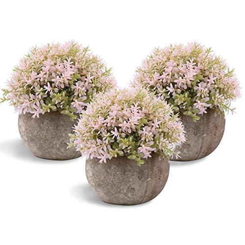 Aiskki, kunstbloemen, bonsai, kunstplant met grijze pot, voor bruiloft, kantoor, tuin, huisdecoratie, roze bloemen, set van 3