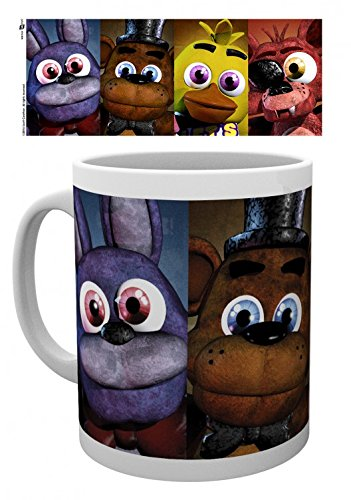 1art1 Five Nights at Freddy'S, Faces Taza Foto (9x8 cm) Y 1x Pegatina Sorpresa