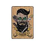 Cartel de metal con diseño de calavera de barba para decoración de salón y barbería, 30,5 x 20,3 cm
