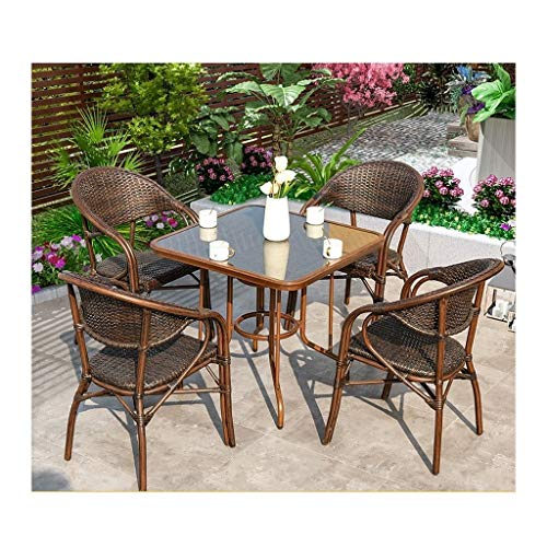 HLZY Outdoor Living Furniture Outdoor Furniture Ratan Patio Furniture Set Glass Coffee Table Conversation for Outdoor Garden Poolside