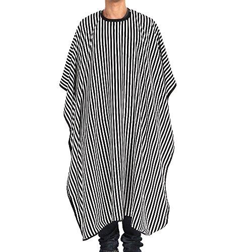 ODJOY-FAN Friseurumhänge Friseur Coiffeur Schulter Cape Umhang verstellbar Schwarz mit Weißen Streifen (Schwarz, 1PC)